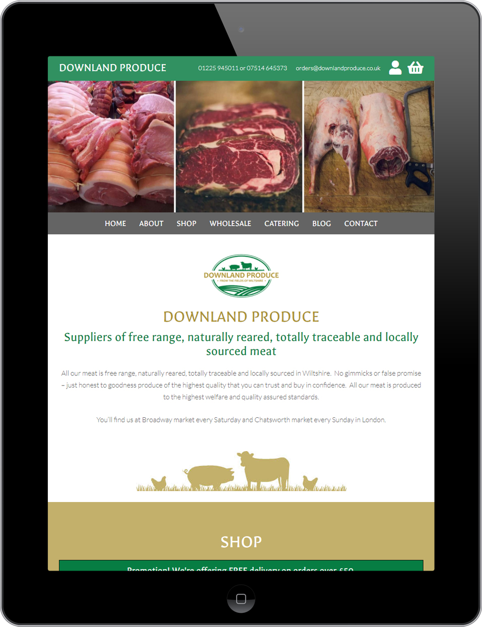 Responsive web design for Downland Produce