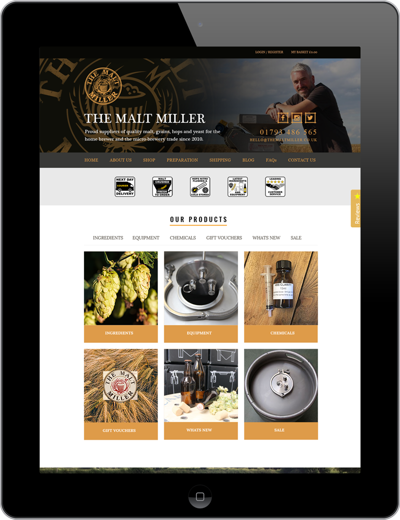 Responsive web design for The Malt Miller