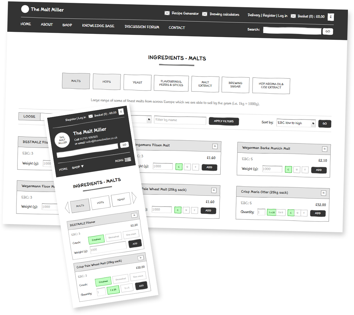 Responsive wireframes for The Malt Miller