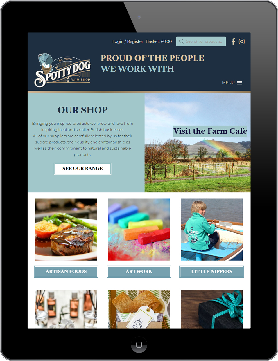 Responsive web design for Spotty Dog Farm Shop